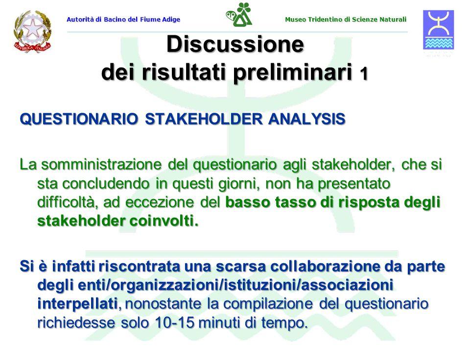 Discussione dei risultati preliminari 1