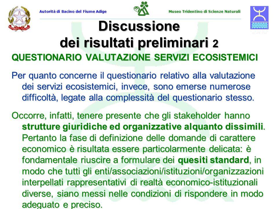 Discussione dei risultati preliminari 2