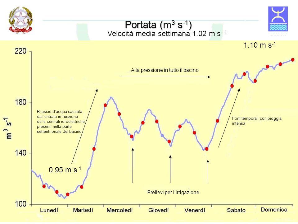 Portata (m3 s-1) Velocità media settimana 1.02 m s -1 1.10 m s-1