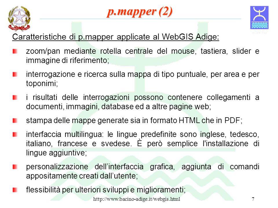 p.mapper (2) Caratteristiche di p.mapper applicate al WebGIS Adige: