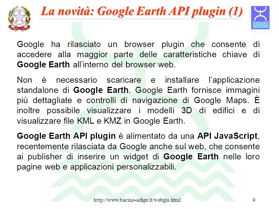 La novità: Google Earth API plugin (1)