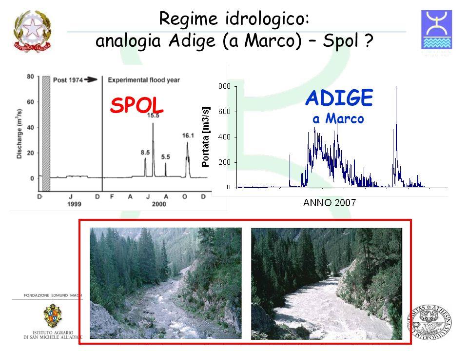 Regime idrologico: analogia Adige (a Marco) – Spol