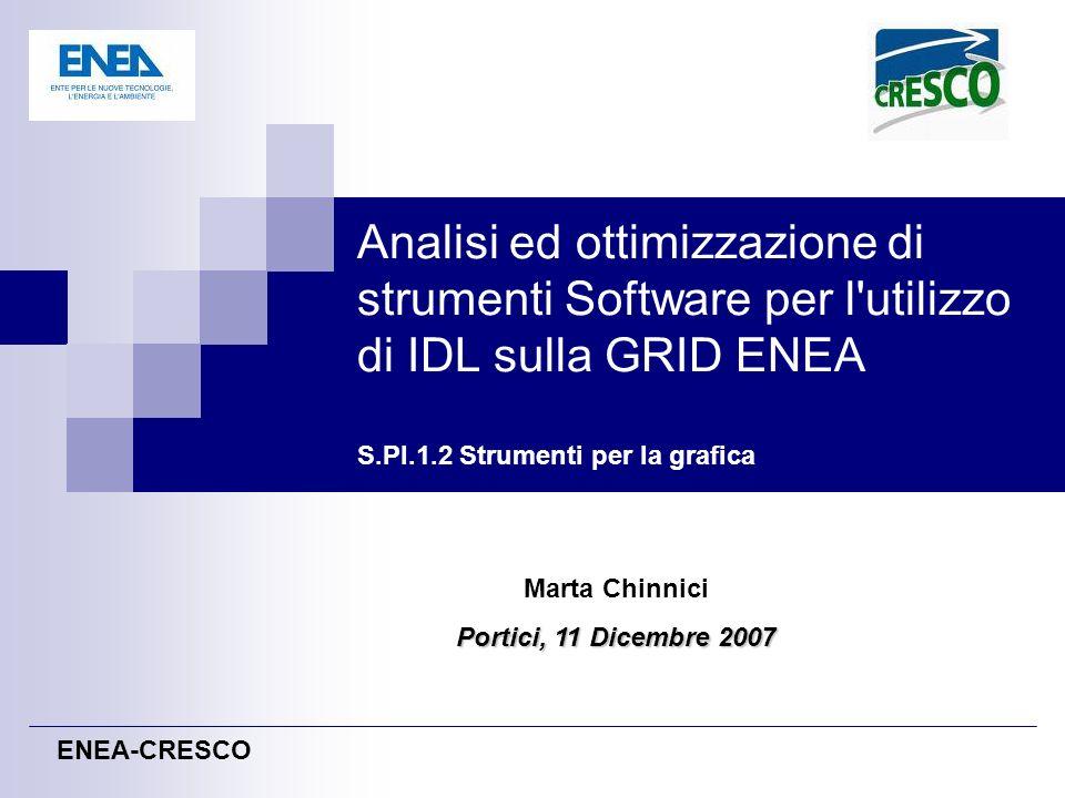 Analisi ed ottimizzazione di strumenti Software per l utilizzo di IDL sulla GRID ENEA S.PI.1.2 Strumenti per la grafica