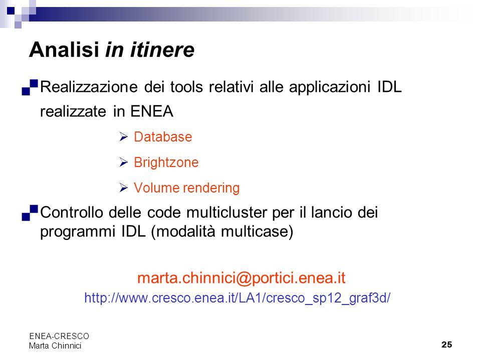 Analisi in itinere Realizzazione dei tools relativi alle applicazioni IDL realizzate in ENEA. Database.