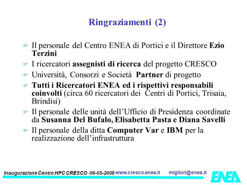 Ringraziamenti (2) Il personale del Centro ENEA di Portici e il Direttore Ezio Terzini. I ricercatori assegnisti di ricerca del progetto CRESCO.