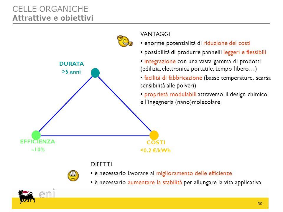 CELLE ORGANICHE Attrattive e obiettivi