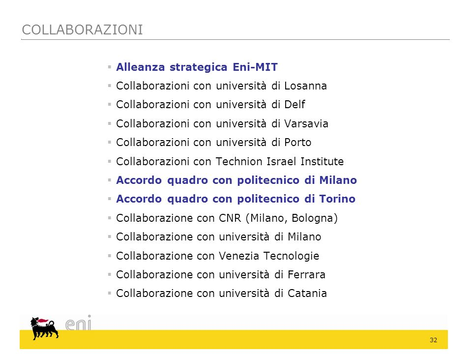COLLABORAZIONI Alleanza strategica Eni-MIT