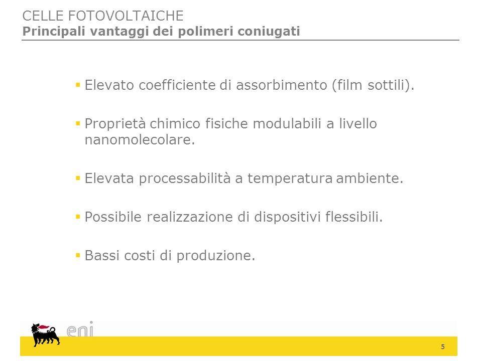 CELLE FOTOVOLTAICHE Principali vantaggi dei polimeri coniugati