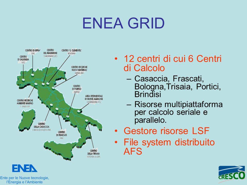 ENEA GRID 12 centri di cui 6 Centri di Calcolo Gestore risorse LSF