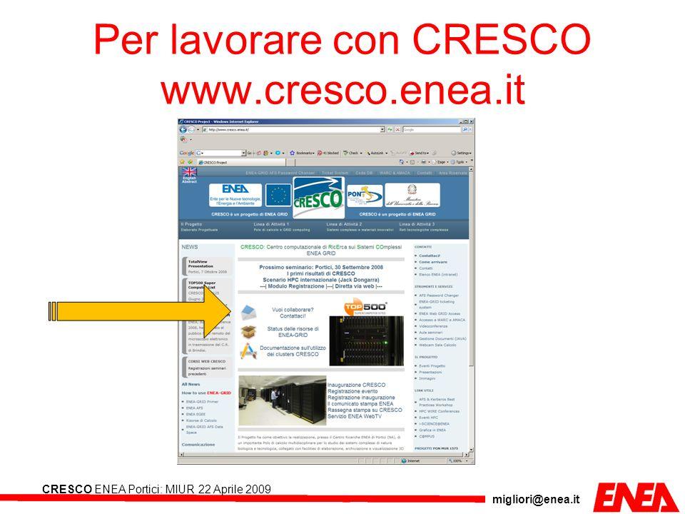 Per lavorare con CRESCO www.cresco.enea.it