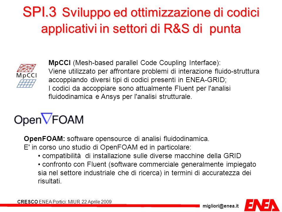 SPI.3 Sviluppo ed ottimizzazione di codici applicativi in settori di R&S di punta