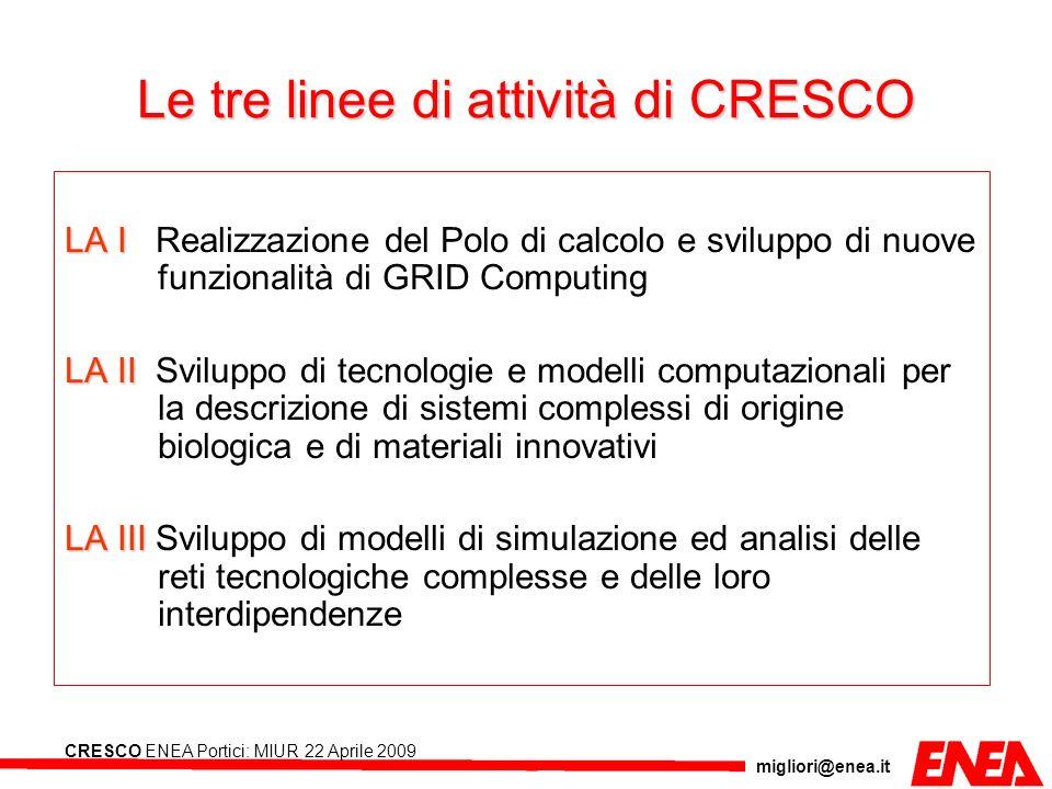 Le tre linee di attività di CRESCO