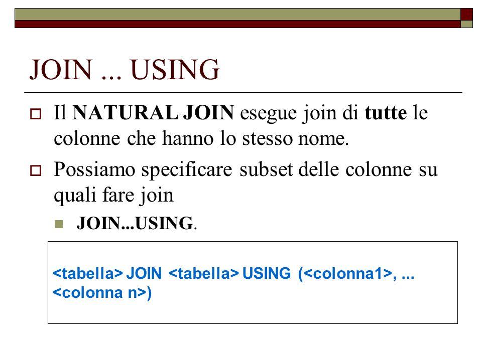 JOIN ... USING Il NATURAL JOIN esegue join di tutte le colonne che hanno lo stesso nome.