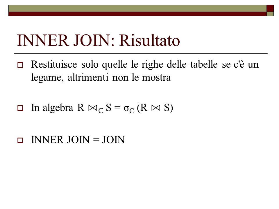 INNER JOIN: Risultato Restituisce solo quelle le righe delle tabelle se c è un legame, altrimenti non le mostra.