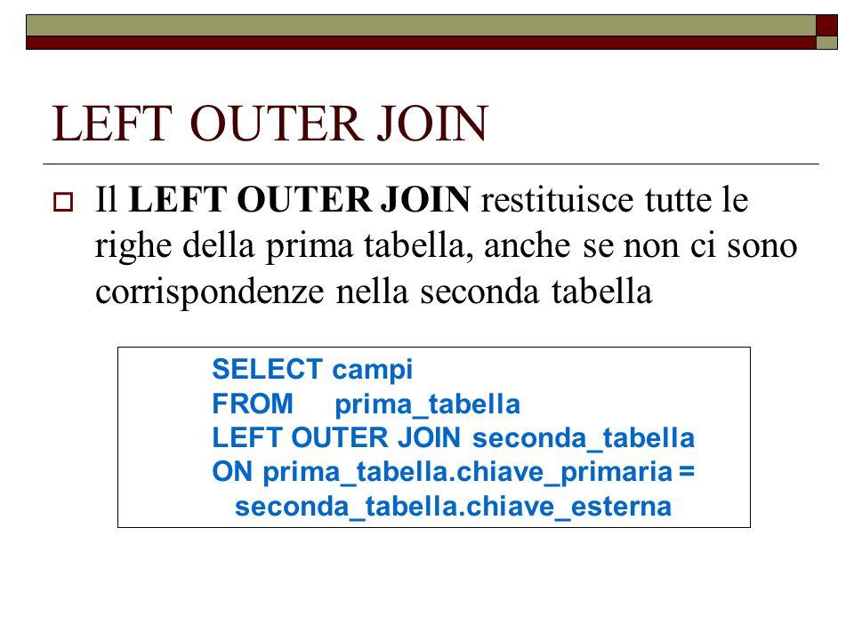 LEFT OUTER JOIN Il LEFT OUTER JOIN restituisce tutte le righe della prima tabella, anche se non ci sono corrispondenze nella seconda tabella.