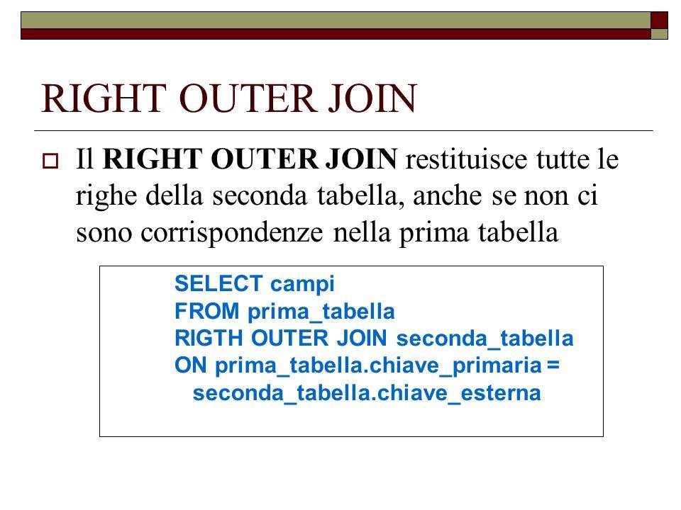 RIGHT OUTER JOIN Il RIGHT OUTER JOIN restituisce tutte le righe della seconda tabella, anche se non ci sono corrispondenze nella prima tabella.