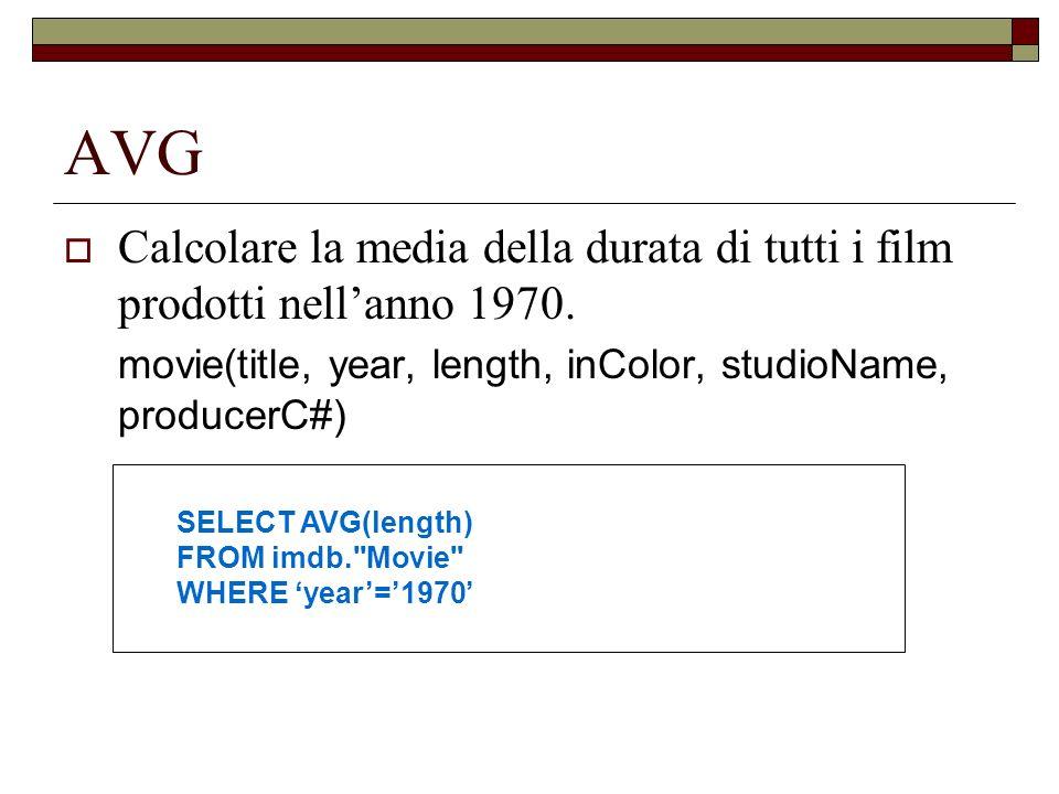 AVG Calcolare la media della durata di tutti i film prodotti nell'anno 1970. movie(title, year, length, inColor, studioName, producerC#)