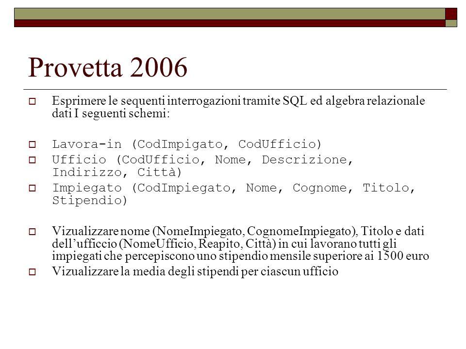 Provetta 2006 Esprimere le sequenti interrogazioni tramite SQL ed algebra relazionale dati I seguenti schemi: