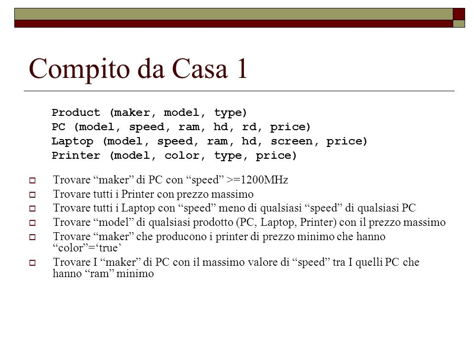 Compito da Casa 1 Product (maker, model, type)