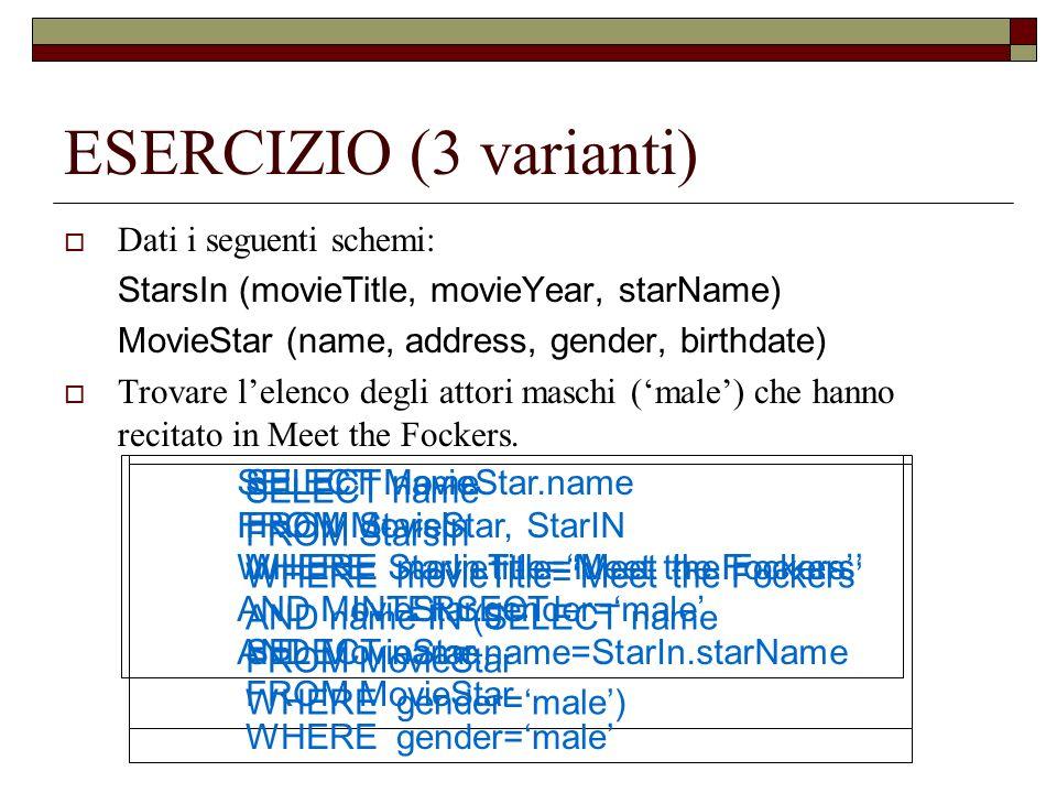ESERCIZIO (3 varianti) Dati i seguenti schemi: