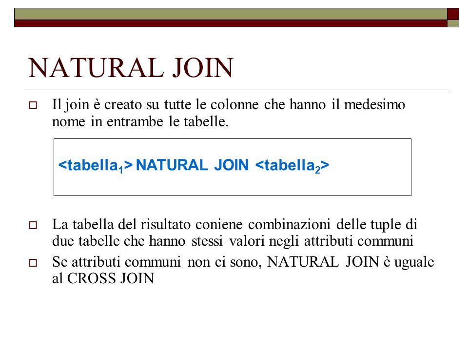 NATURAL JOIN Il join è creato su tutte le colonne che hanno il medesimo nome in entrambe le tabelle.