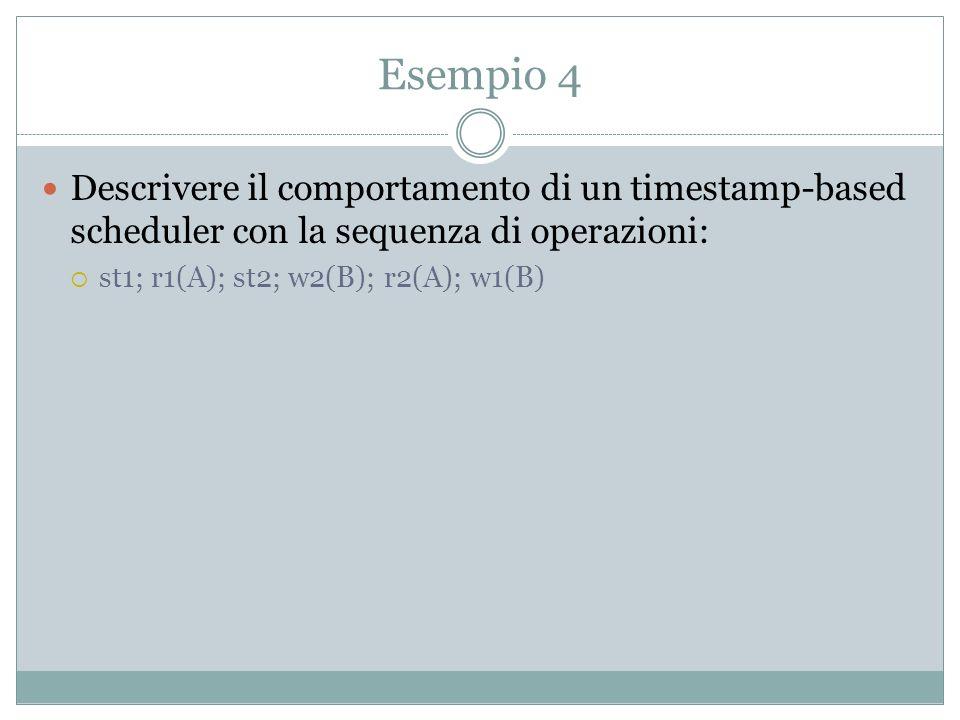 Esempio 4 Descrivere il comportamento di un timestamp-based scheduler con la sequenza di operazioni: