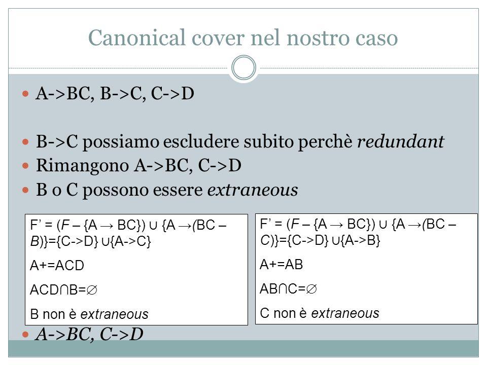 Canonical cover nel nostro caso