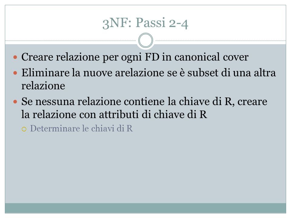 3NF: Passi 2-4 Creare relazione per ogni FD in canonical cover