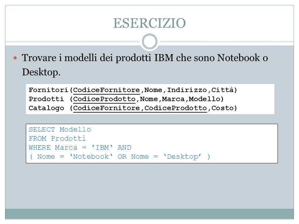ESERCIZIO Trovare i modelli dei prodotti IBM che sono Notebook o