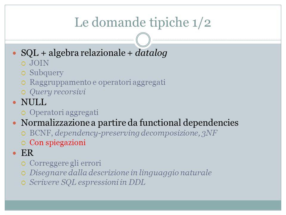 Le domande tipiche 1/2 SQL + algebra relazionale + datalog NULL