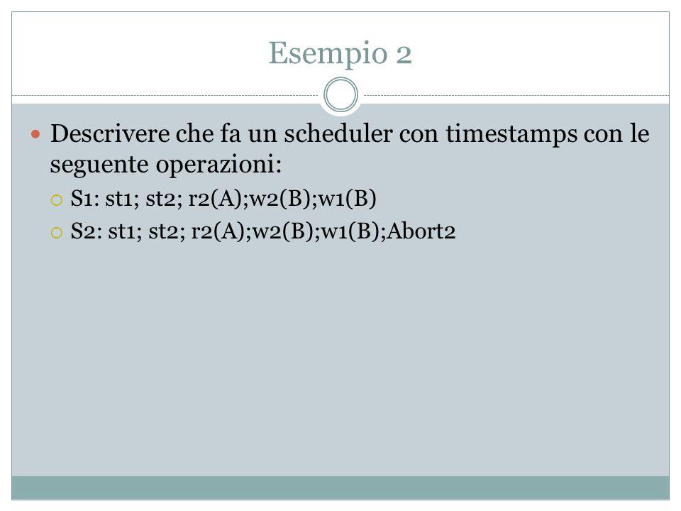 Esempio 2 Descrivere che fa un scheduler con timestamps con le seguente operazioni: S1: st1; st2; r2(A);w2(B);w1(B)