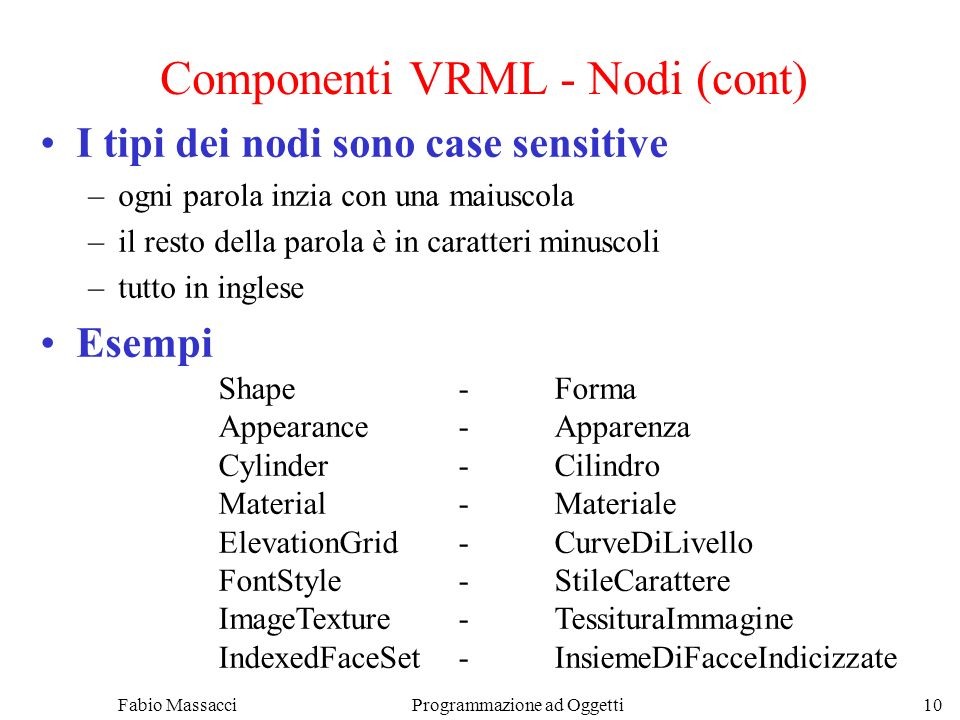Componenti VRML - Nodi (cont)