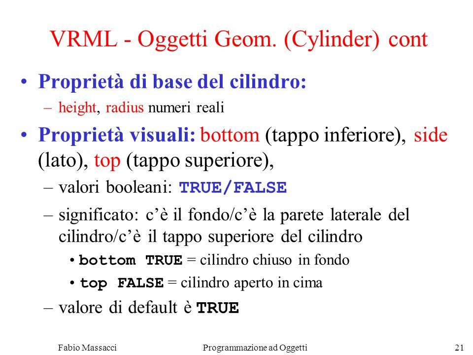 VRML - Oggetti Geom. (Cylinder) cont