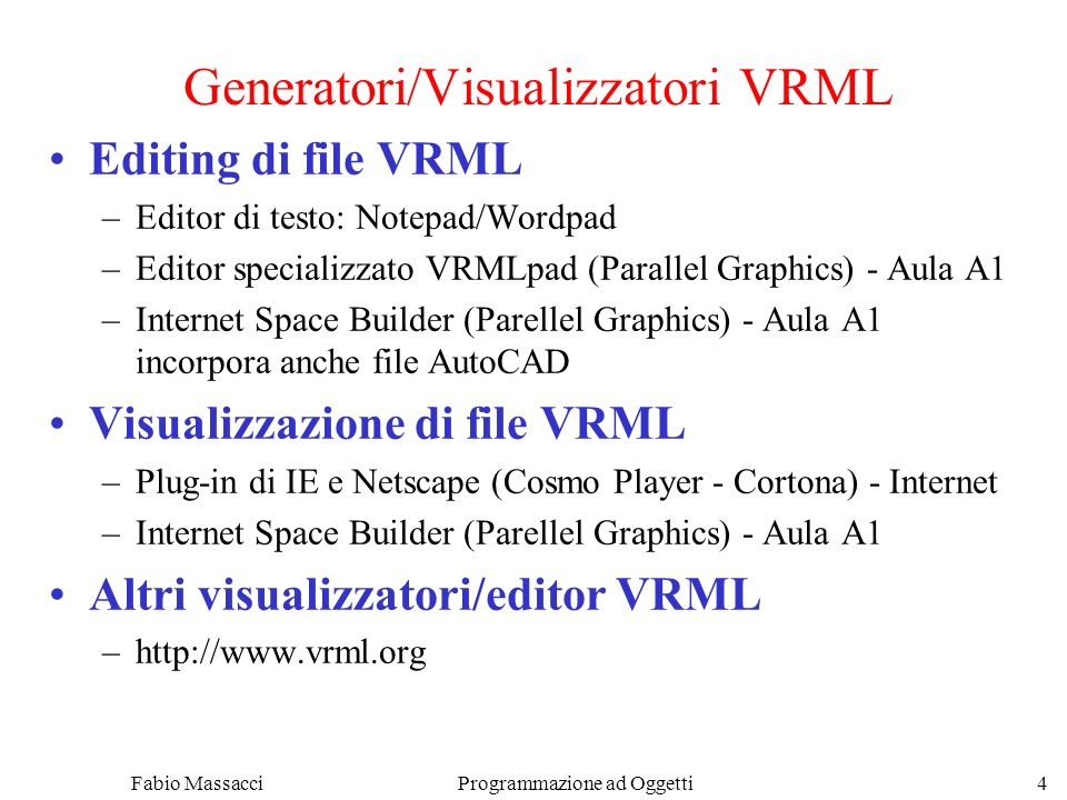 Generatori/Visualizzatori VRML