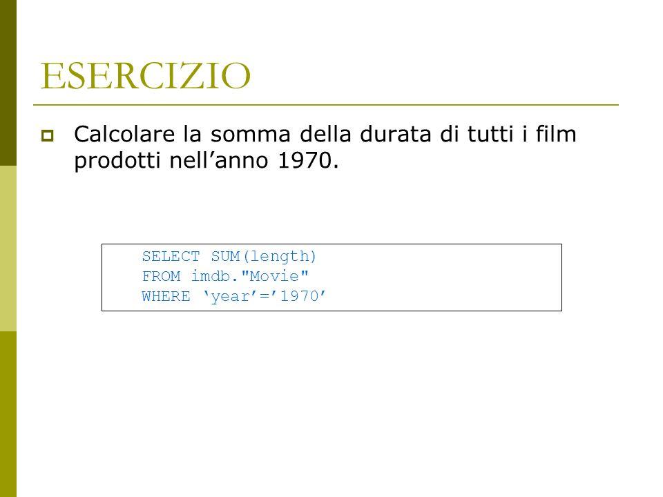 ESERCIZIO Calcolare la somma della durata di tutti i film prodotti nell'anno 1970. SELECT SUM(length)