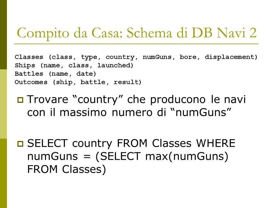 Compito da Casa: Schema di DB Navi 2