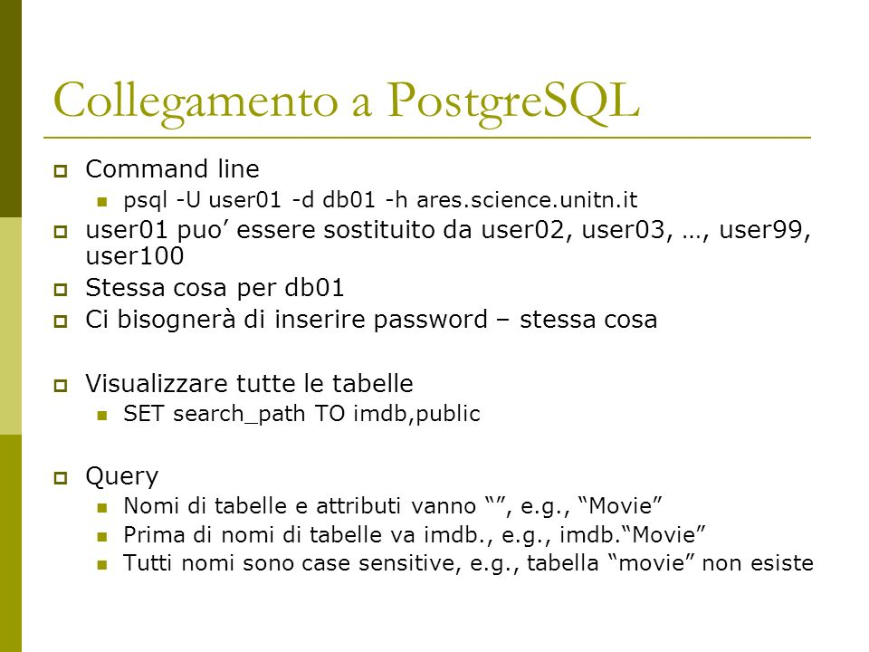 Collegamento a PostgreSQL