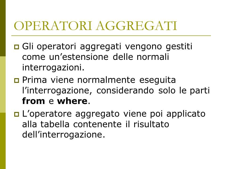 OPERATORI AGGREGATI Gli operatori aggregati vengono gestiti come un'estensione delle normali interrogazioni.