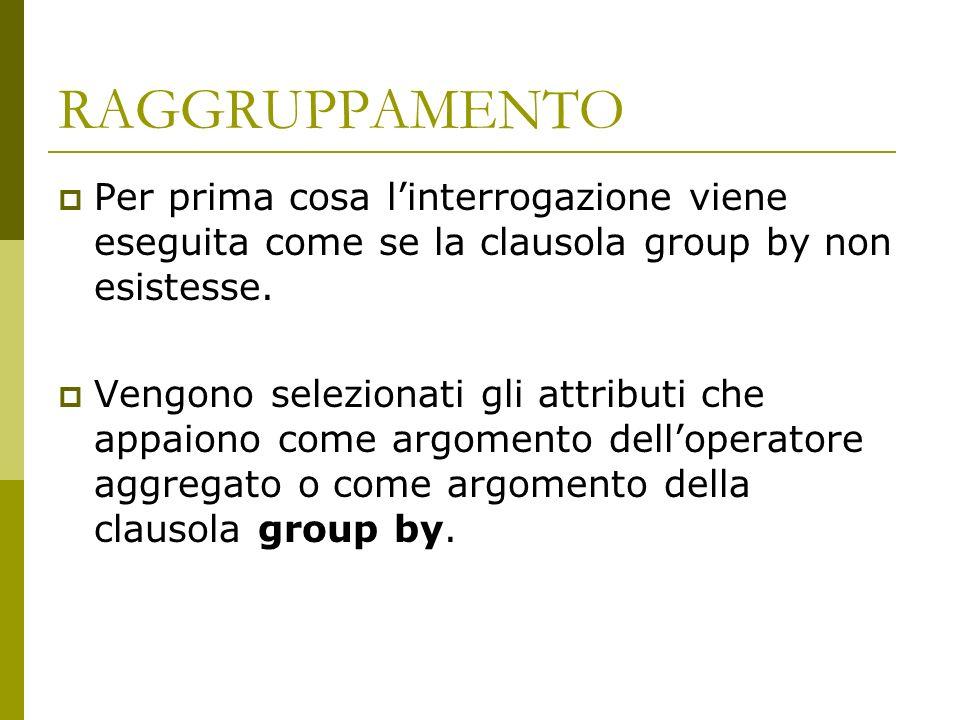RAGGRUPPAMENTO Per prima cosa l'interrogazione viene eseguita come se la clausola group by non esistesse.