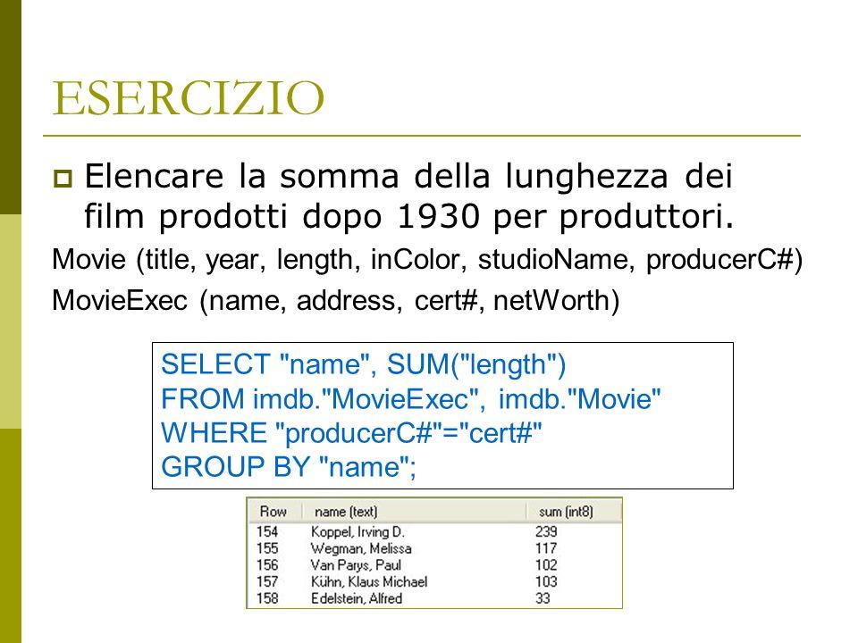 ESERCIZIO Elencare la somma della lunghezza dei film prodotti dopo 1930 per produttori. Movie (title, year, length, inColor, studioName, producerC#)
