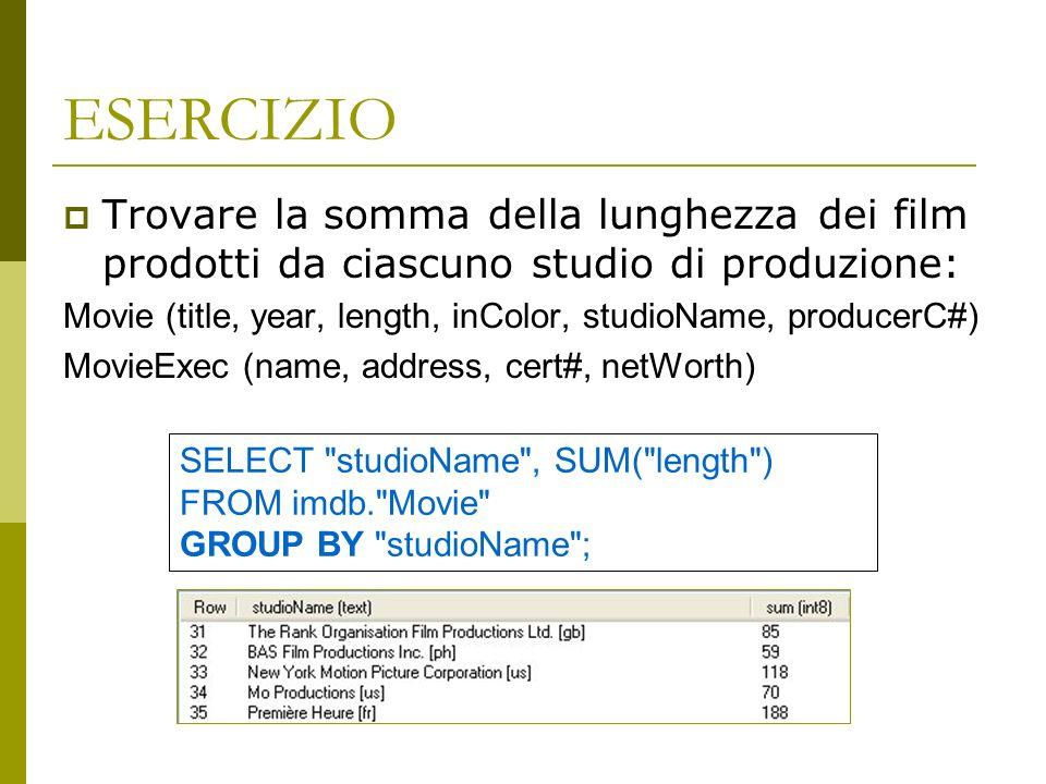 ESERCIZIO Trovare la somma della lunghezza dei film prodotti da ciascuno studio di produzione: