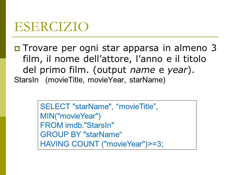 ESERCIZIO Trovare per ogni star apparsa in almeno 3 film, il nome dell'attore, l'anno e il titolo del primo film. (output name e year).