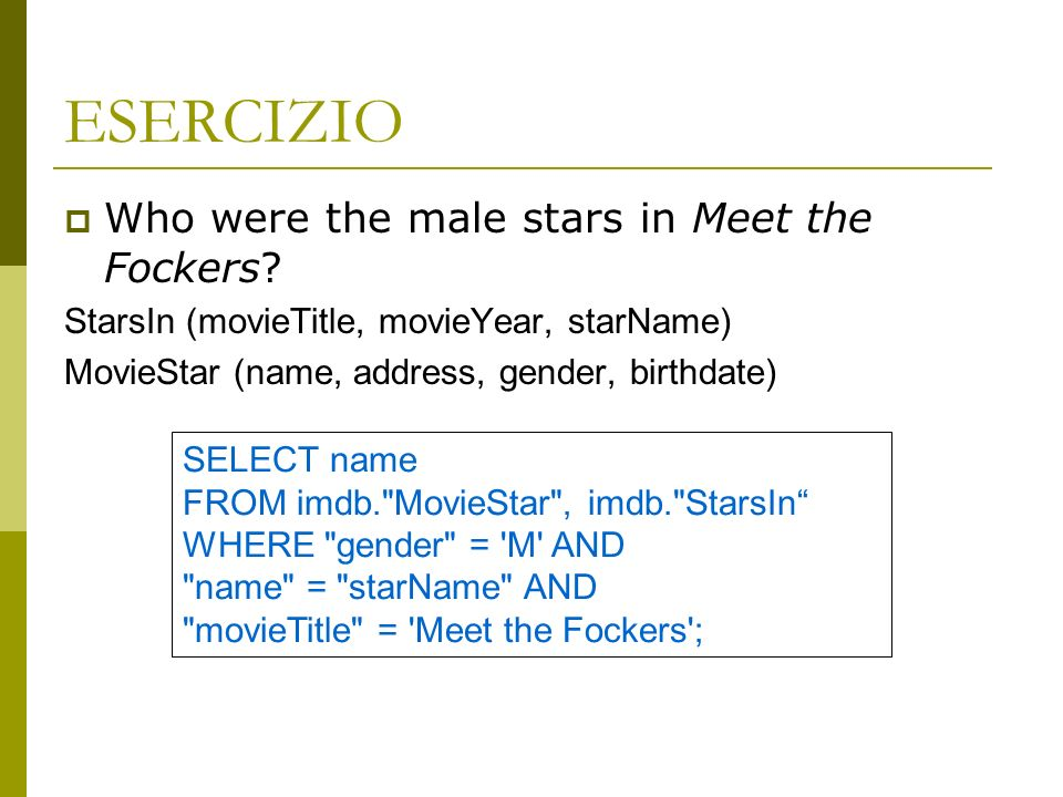 ESERCIZIO Who were the male stars in Meet the Fockers