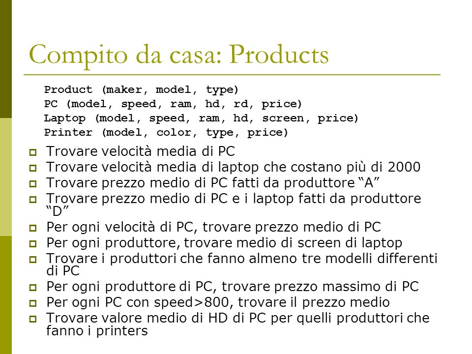 Compito da casa: Products