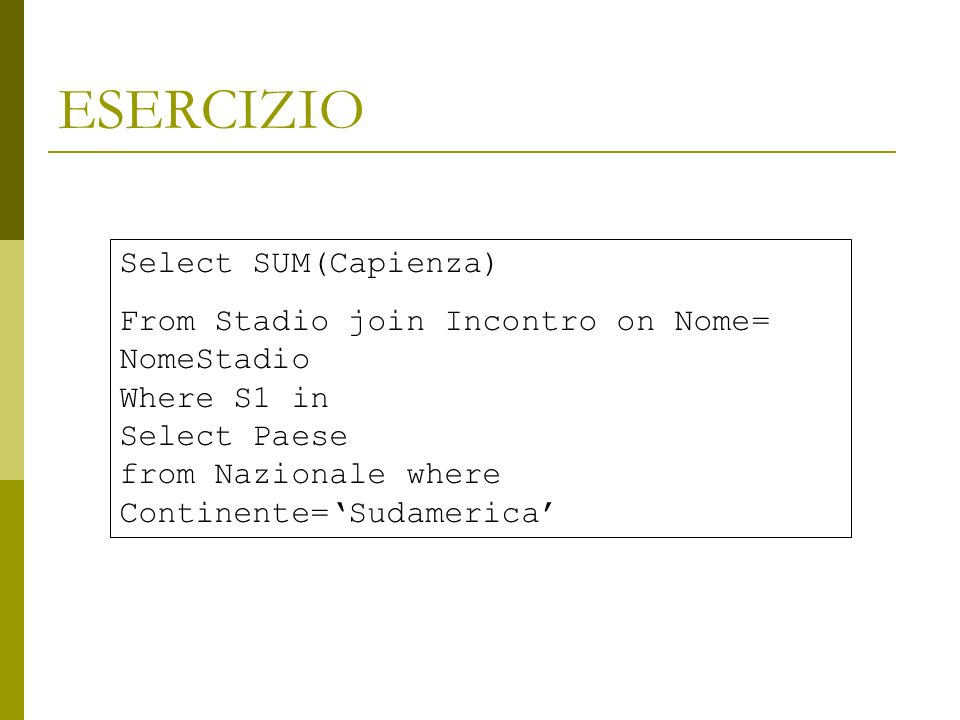 ESERCIZIO Select SUM(Capienza)