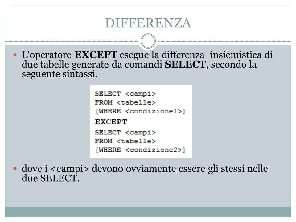 DIFFERENZA L operatore EXCEPT esegue la differenza insiemistica di due tabelle generate da comandi SELECT, secondo la seguente sintassi.
