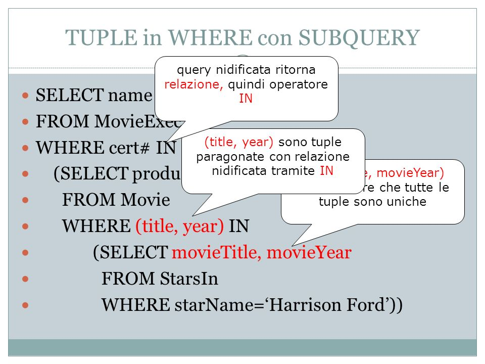 TUPLE in WHERE con SUBQUERY