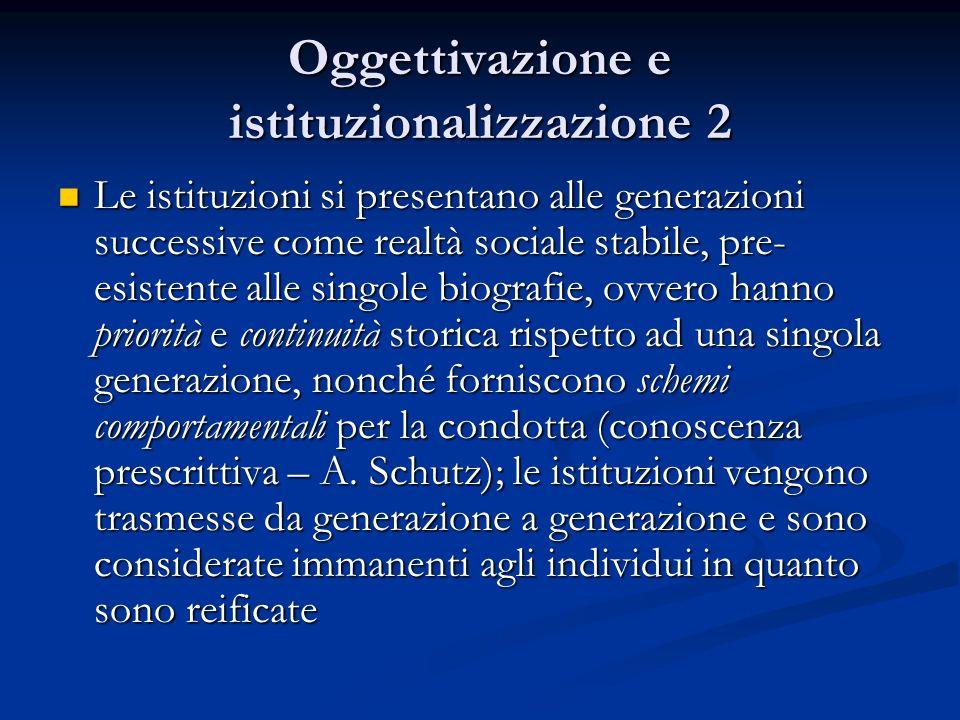 Oggettivazione e istituzionalizzazione 2
