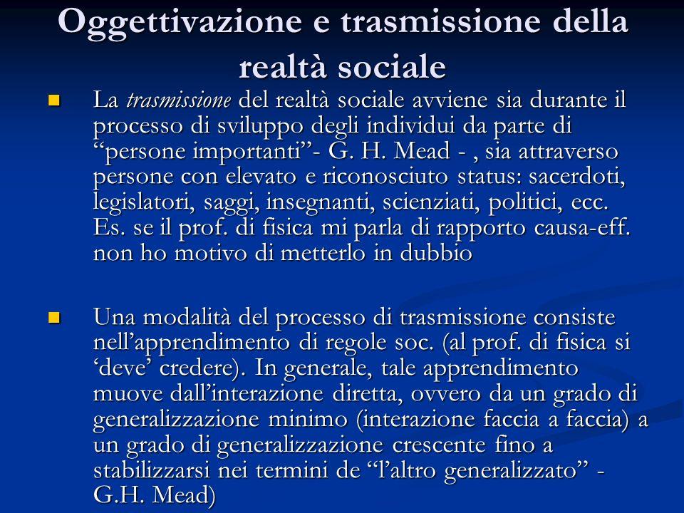 Oggettivazione e trasmissione della realtà sociale