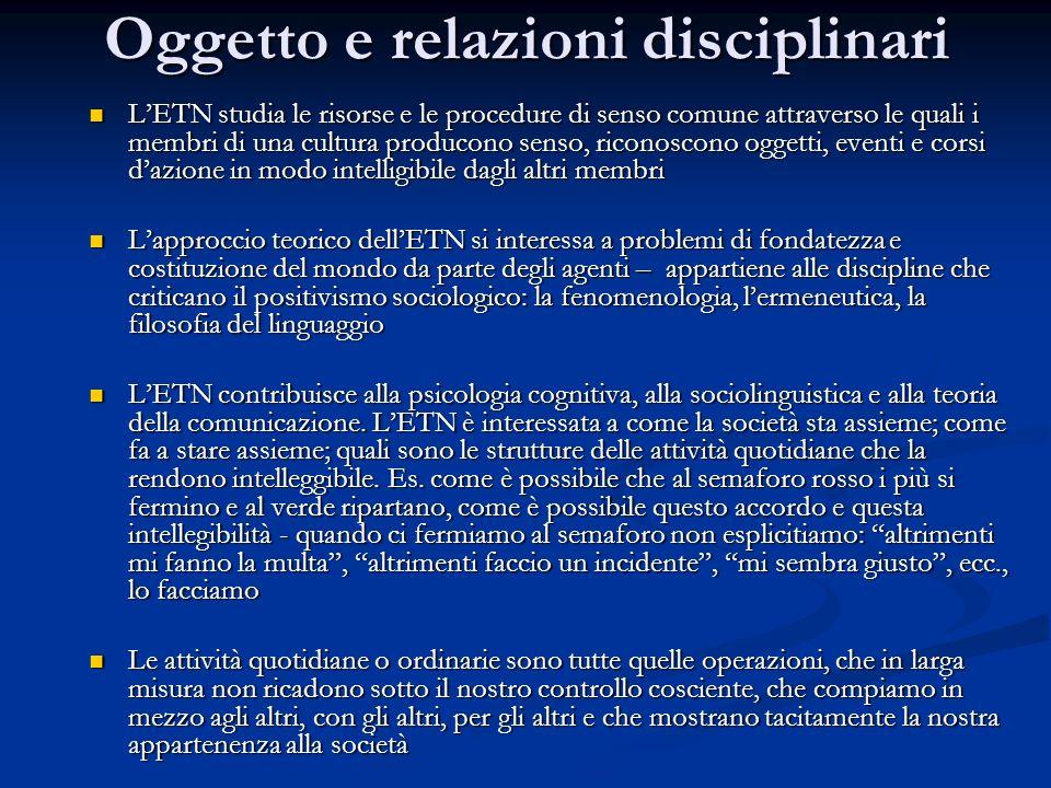 Oggetto e relazioni disciplinari